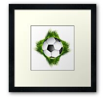 Abstract green grass colorful football design Framed Print