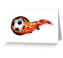 Soccer ball on fire Greeting Card