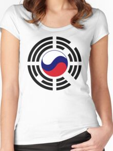 Korean Russian Multinational Patriot Flag Series Women's Fitted Scoop T-Shirt