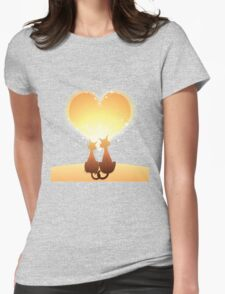 Cat love valentine Womens Fitted T-Shirt