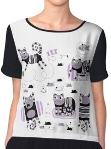 Funny floral pattern cats Chiffon Top