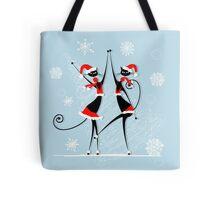 Amusing Christmas cats graphics Tote Bag
