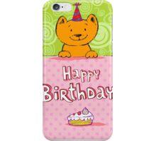 Happy birthday cat design card iPhone Case/Skin