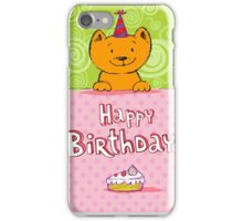 Happy birthday cat design card iPhone Case/Skin