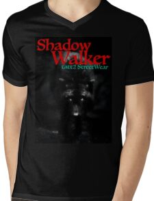 SHADOW WALKER Black Wolf Mens V-Neck T-Shirt