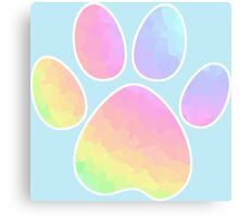 Crystal Rainbow Pastel Dog Paw Canvas Print