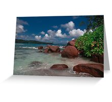 Seychelles Beach Rock Formation Greeting Card
