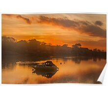 Sunset over Tranquil River and Bank Poster