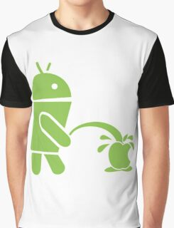 Android pissing on Apple Graphic T-Shirt