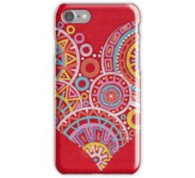 Colourful heart on red iPhone Case/Skin