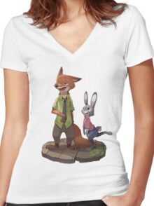 Zootopia - Nick and Judy Women's Fitted V-Neck T-Shirt