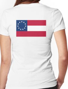 Stars & Bars, USA, America, First American National Flag, 11 stars, 1861, on WHITE Womens Fitted T-Shirt
