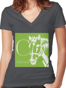 ABC-Book French Horse Women's Fitted V-Neck T-Shirt