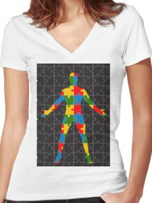 puzzle human body Women's Fitted V-Neck T-Shirt
