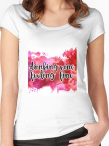 Drinking Wine Watercolor Women's Fitted Scoop T-Shirt