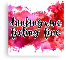 Drinking Wine Watercolor Canvas Print