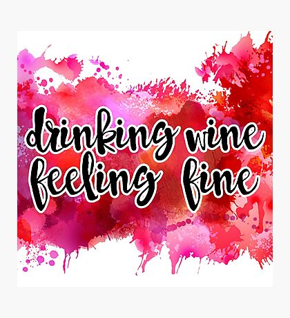 Drinking Wine Watercolor Photographic Print