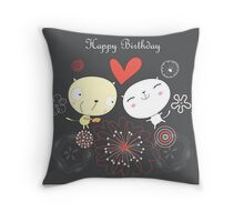 Cartoon cat happy birthday background Throw Pillow