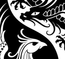 White and Black Dragon Phoenix Yin Yang Sticker