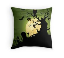 Owl pumpkin sitting on tree in graveyard Throw Pillow