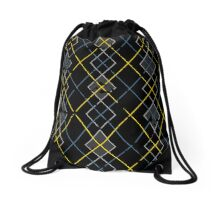 Argyle Blue/Grey Drawstring Bag