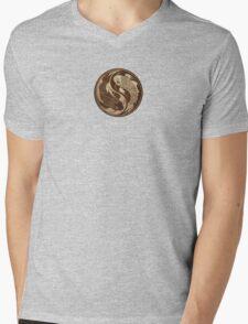 Yin Yang Koi Fish with Rough Texture Effect Mens V-Neck T-Shirt