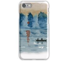 Blue Abstract Sunset - Watercolor Painting iPhone Case/Skin