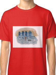 Blue Abstract Sunset - Watercolor Painting Classic T-Shirt