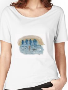 Blue Abstract Sunset - Watercolor Painting Women's Relaxed Fit T-Shirt