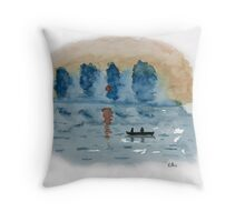 Blue Abstract Sunset - Watercolor Painting Throw Pillow