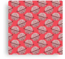 Red Planet Hand Drawn Pattern Canvas Print