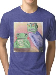 Robot flirting with frog whos eating a sandwich  Tri-blend T-Shirt