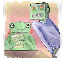 Robot flirting with frog whos eating a sandwich  Poster