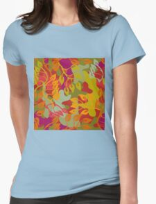 Autumn forest. Seamless camouflage vector pattern. Womens Fitted T-Shirt