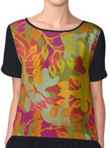 Autumn forest. Seamless camouflage vector pattern. Chiffon Top