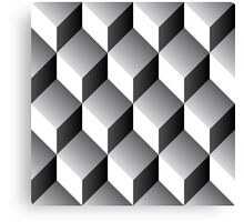 Geometric 3d cube pattern - retro design - B/W Canvas Print