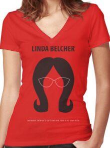 Linda Belcher Minimalist Women's Fitted V-Neck T-Shirt