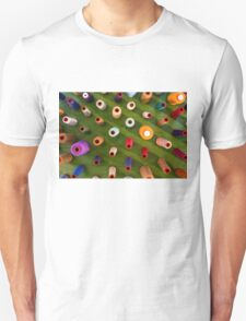 Multicolor sewing threads on wooden background T-Shirt