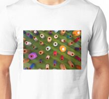 Multicolor sewing threads on wooden background Unisex T-Shirt