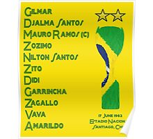 Brazil 1962 World Cup Final Winners Poster