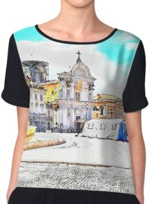 L'Aquila: square with fountain and awning Chiffon Top