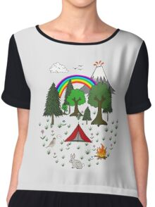 Cartoon Camping Scene Chiffon Top