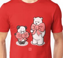Panda And Polar Bear In Ribbons Unisex T-Shirt