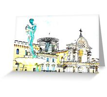 L'Aquila: square with fountain Greeting Card