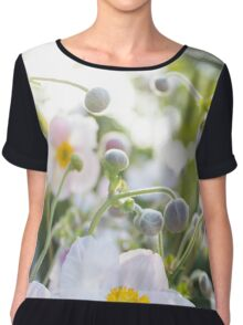Anemone - pink / white flowers in sunlight  Chiffon Top