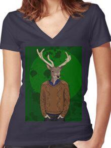 Anthropomorphic hipster deer man print Women's Fitted V-Neck T-Shirt
