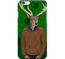 Anthropomorphic hipster deer man print iPhone Case/Skin