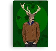 Anthropomorphic hipster deer man print Canvas Print