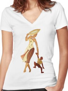 African woman with child Women's Fitted V-Neck T-Shirt