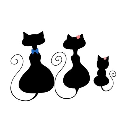 Simplistic Cat family with little girl Sticker